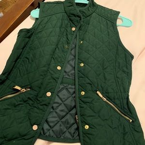 Green Quilted Vest with Gold Zips